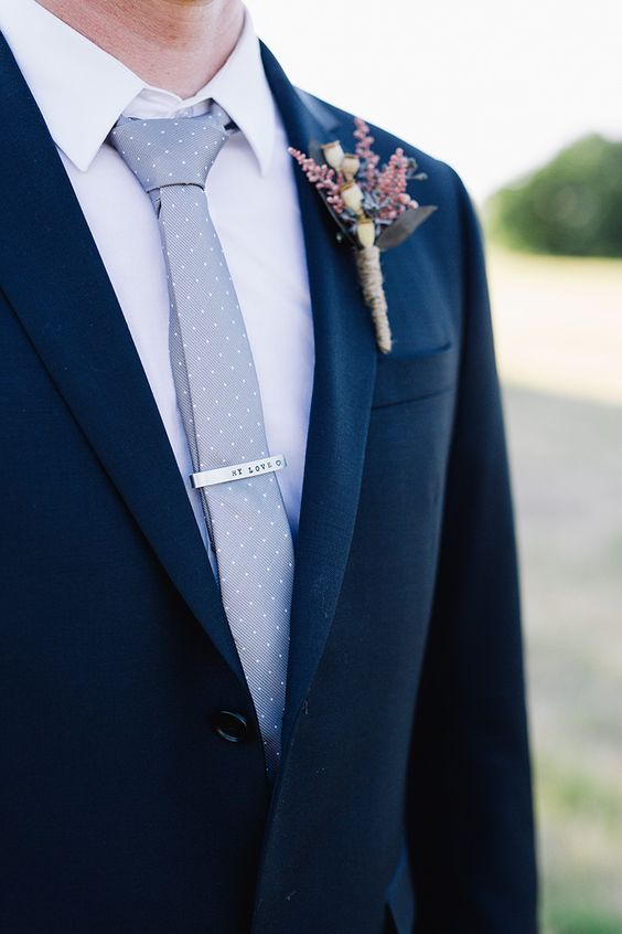 Navy Groom Suit With Silver Polka Dot Tie Mens Suits Tips