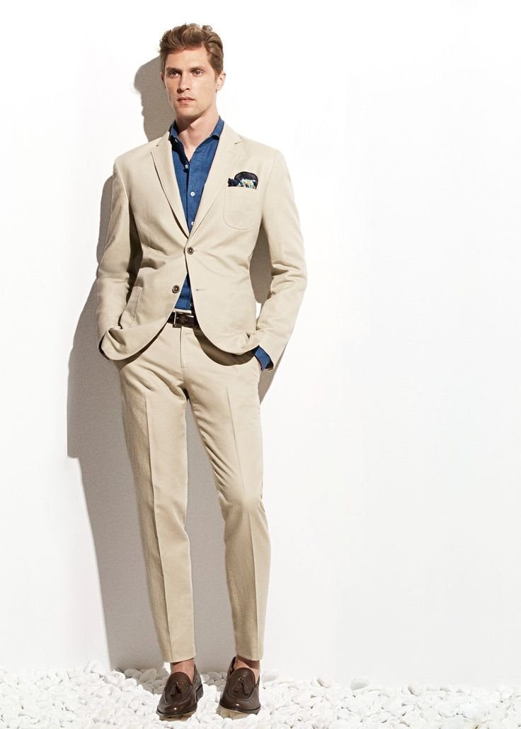 Cotton linen sand color suit for men | Mens Suits Tips