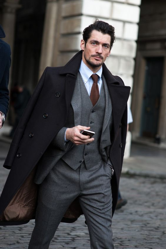 how to wear a peacoat with a suit
