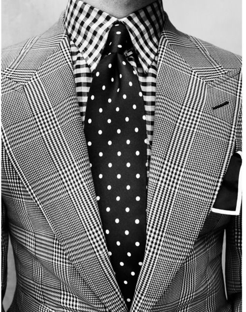 Grey patterned suit with patterned shirt and black polka for Patterned dress shirts for men