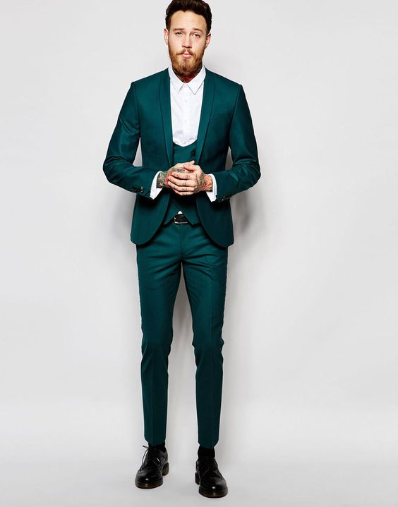 Green skinny fit stretch suit | Mens Suits Tips