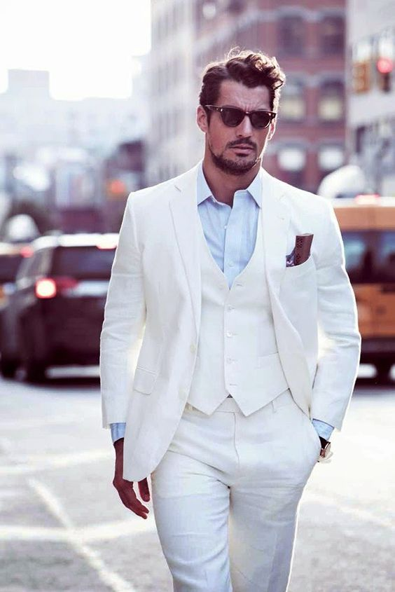 White wedding suit with red tie | Mens Suits Tips
