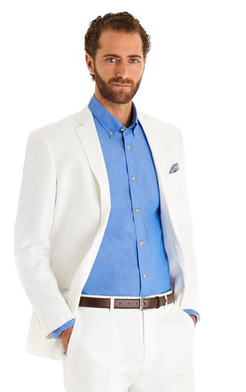 White suit and blue shirt without tie | Mens Suits Tips