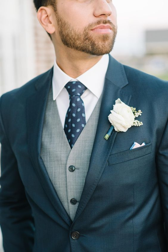 Navy groom suit with grey vest and burgundy knit | Mens Suits Tips