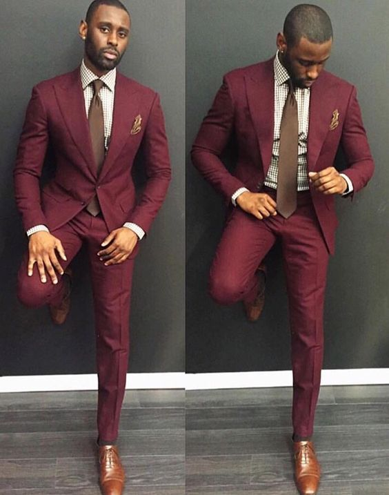 Burgundy suit with brown shoes | Mens Suits Tips