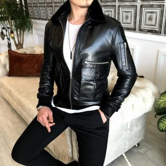 100% Original Lamb Leather Fur Collar Leather Jacket Black Standing