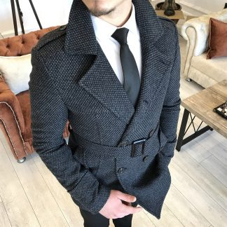 Dark Grey Italian Style Men Stamp Short Trench Coat with Belt with White Shirt and Tie