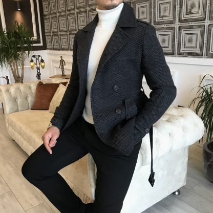 Dark Grey Italian Style Men Stamp Short Trench Coat with Belt with White Sweater