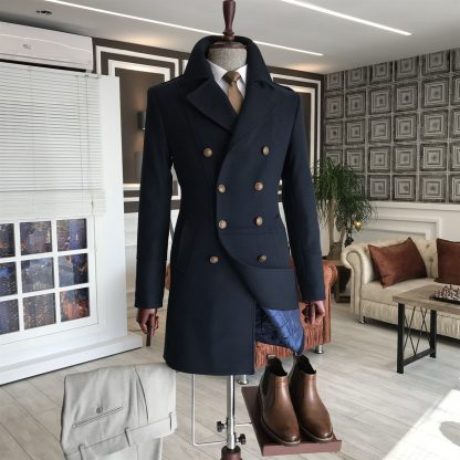 Navy Blue Italian Style Metal Buttoned Double Breasted Jacket Coat Set
