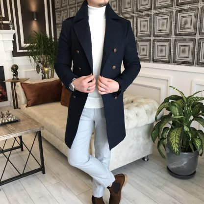 Navy Blue Italian Style Metal Buttoned Double Breasted Jacket Coat Standing