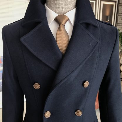 Navy Blue Italian Style Metal Buttoned Double Breasted Jacket Coat with Golden Tie