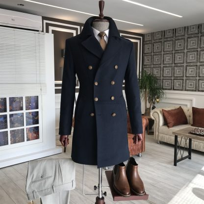 Navy Blue Italian Style Metal Buttoned Double Breasted Jacket Coat with Shoes and Pants Set