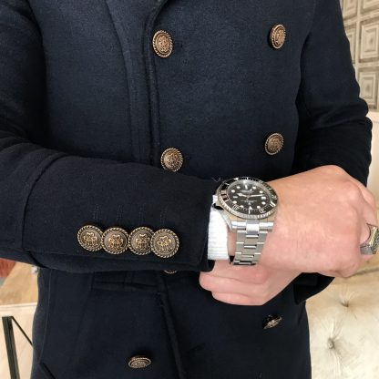 Navy Blue Italian Style Metal Buttoned Double Breasted Jacket Coat with Watches and Rings