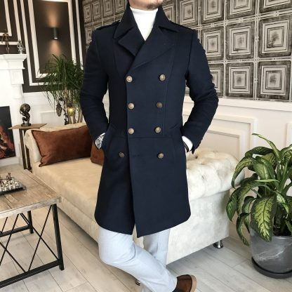 Navy Blue Italian Style Metal Buttoned Double Breasted Jacket Coat with White Sweater Standing
