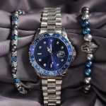 Silver Color Blue Dial Metal Men's Watch Set