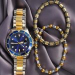 Silver Gold Color Navy Blue Dial Metal Men's Watch Set